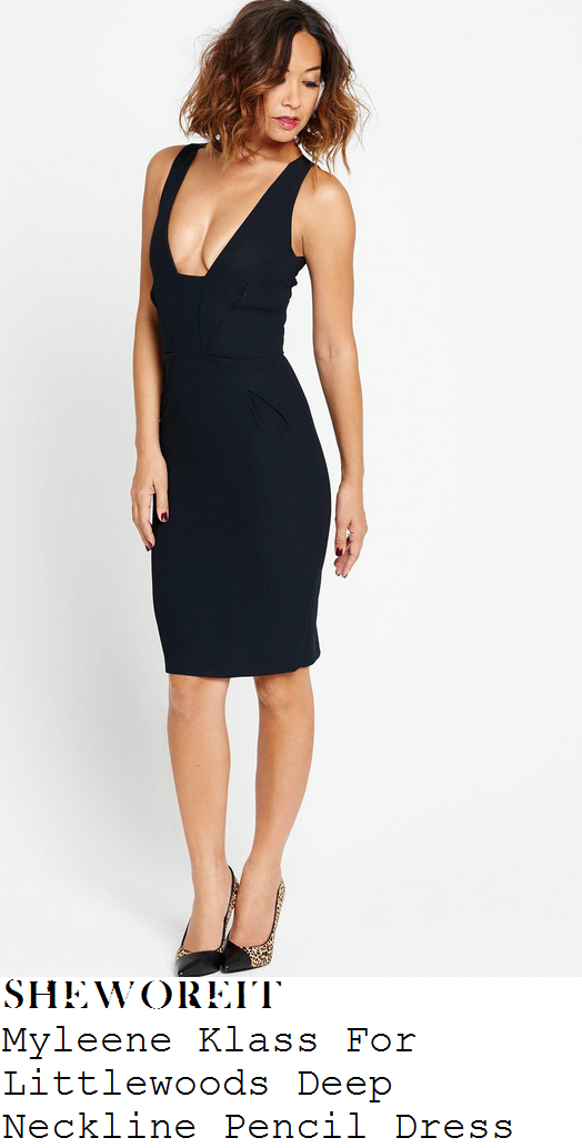 myleene-klass-black-sleeveless-plunge-front-pencil-dress