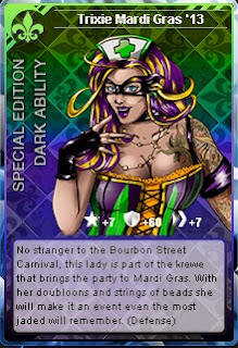 Trixie Mardi Gras card from Superhero City