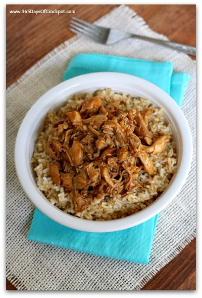 Easy crockpot recipe for garli lime chicken served over brown rice
