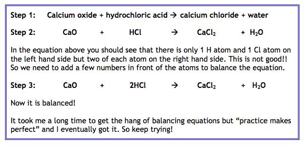 example balancing equation name