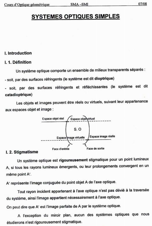Cours sur les systemes optiques simples