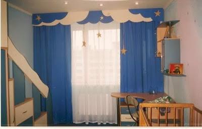Modern Blue Children Curtains Childrens Bedroom