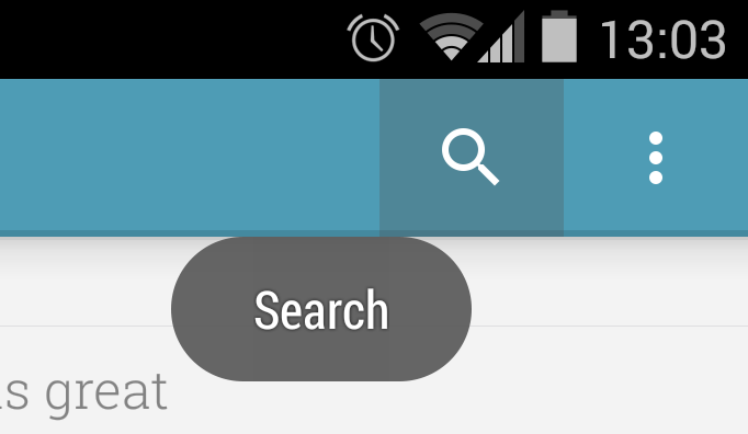 Android button showing descriptive text