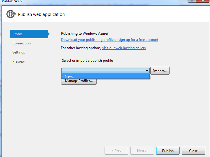 Profile option in visual studio 2012 publish