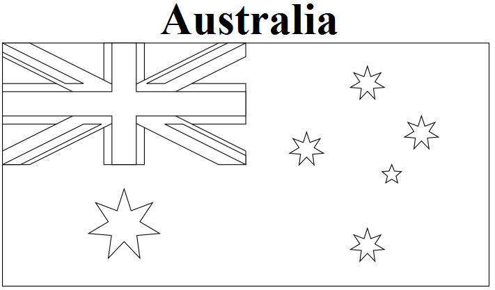Geography blog australia flag coloring page for Australia map coloring page