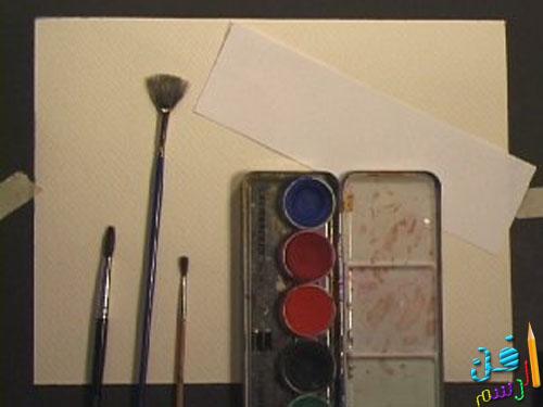 ادوات رسم منظر طبيعي بسيط بالالوان المائيه