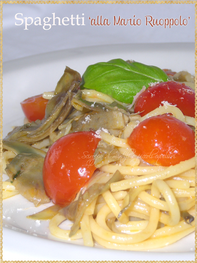 Spaghetti con pomodorini  carciofi romaneschi basilico