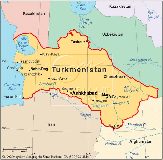 Turkmenistan Map Capital - Turkmenistan map
