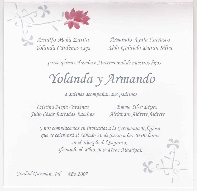 Matrimonio Catolico Tradicional : Texto para invitaciónes de boda imagui