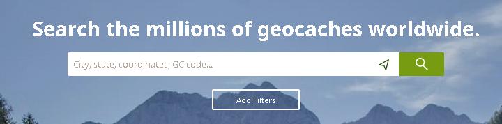 Geocaching.com's search box