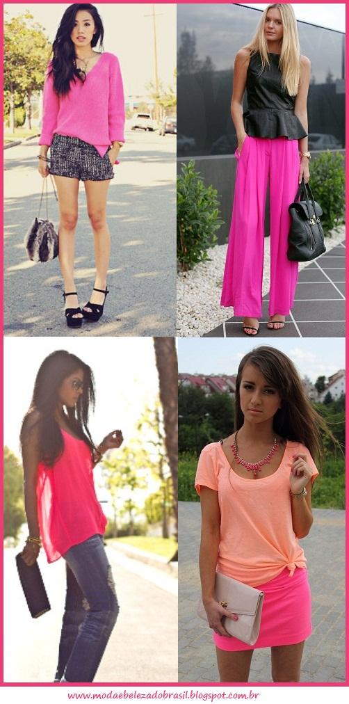 roupas neon rosa