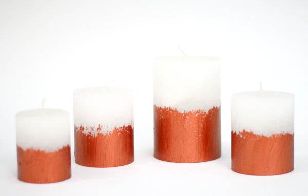 Selbstgemachte Kerzen in Kupfer-Optik