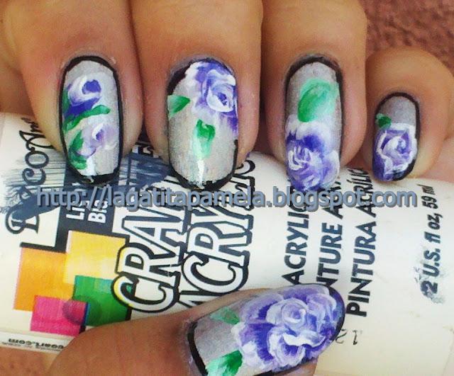 one stroke roses nail art