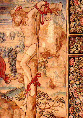 Flemish Crucifixion Tapestry Jesus Medieval Thieves Commentary