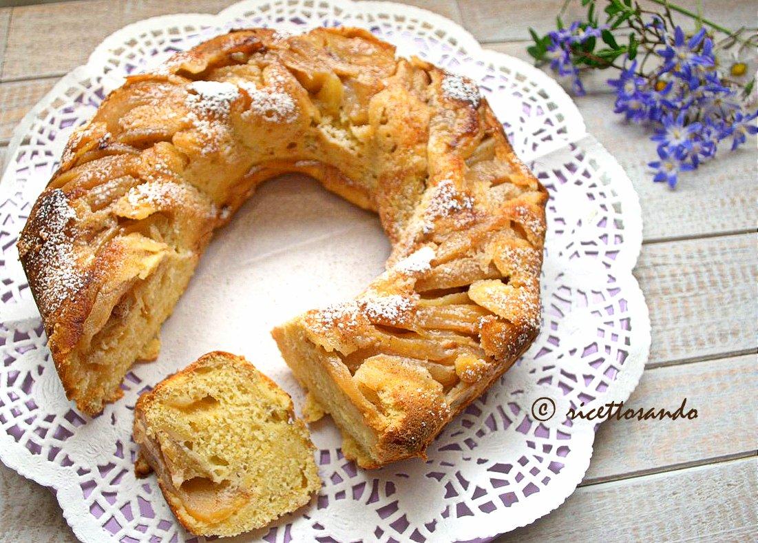Ciambella soffice alla ricotta e mele ricetta dolce di torta con frutta