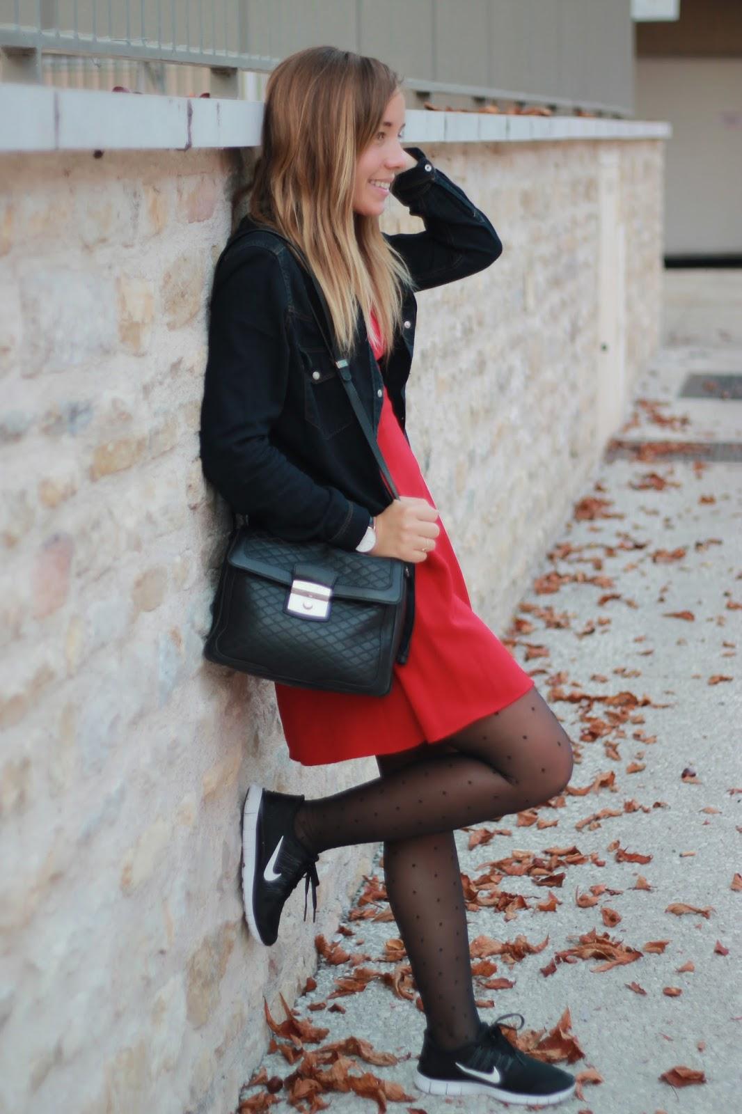 look casual rouge et noir