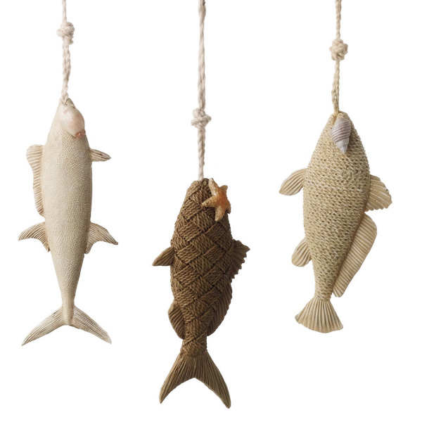 seaside inspired beach decor fish christmas ornaments for your nautical christmas tree - Fish Christmas Ornaments