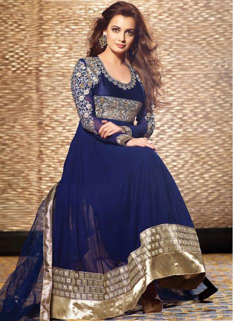 Dark Blue Silver Designer Dia Mirza Anarkali Suit