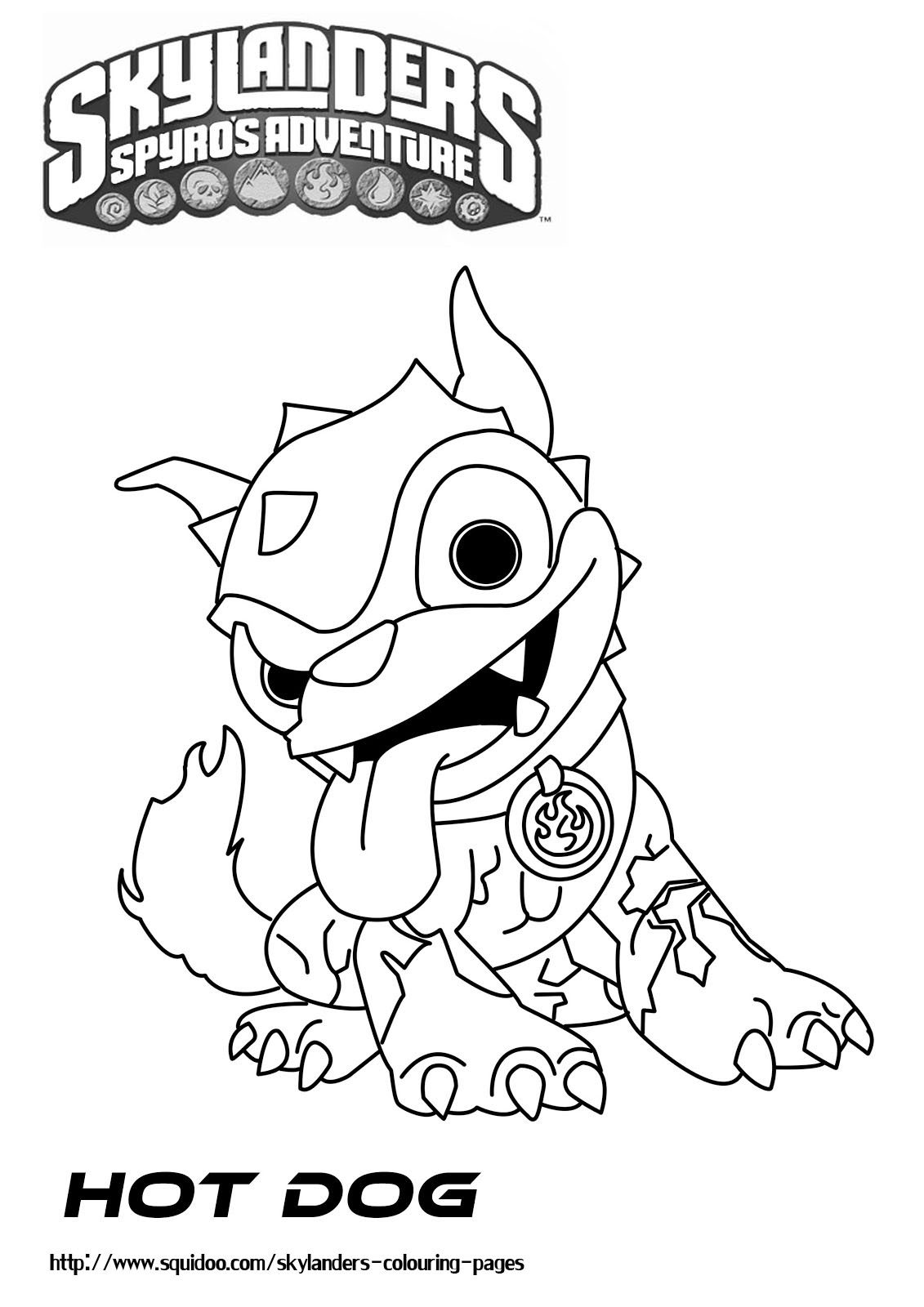 coloring page hot dog - skylanders giants thumpback in free colouring pages