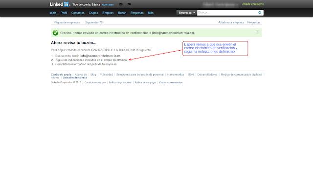 COMERCIO LEÓN - Como crea una página de empresa en LinkedIn - 2º verificación de correo