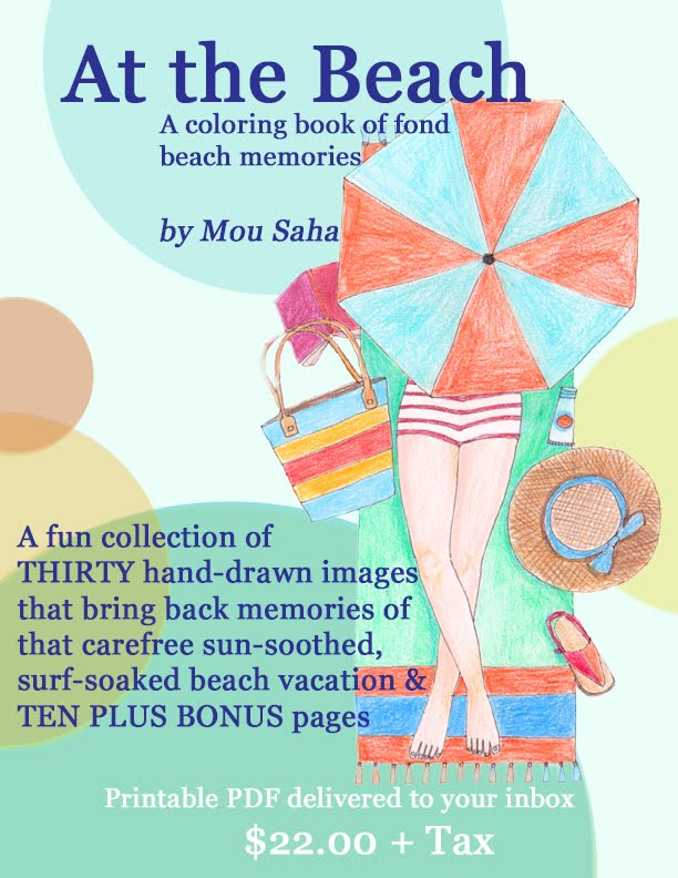 At the Beach: Printable Coloring Book of Fond Beach Memories with 10+ Bonus Pages of Ideas & Extras