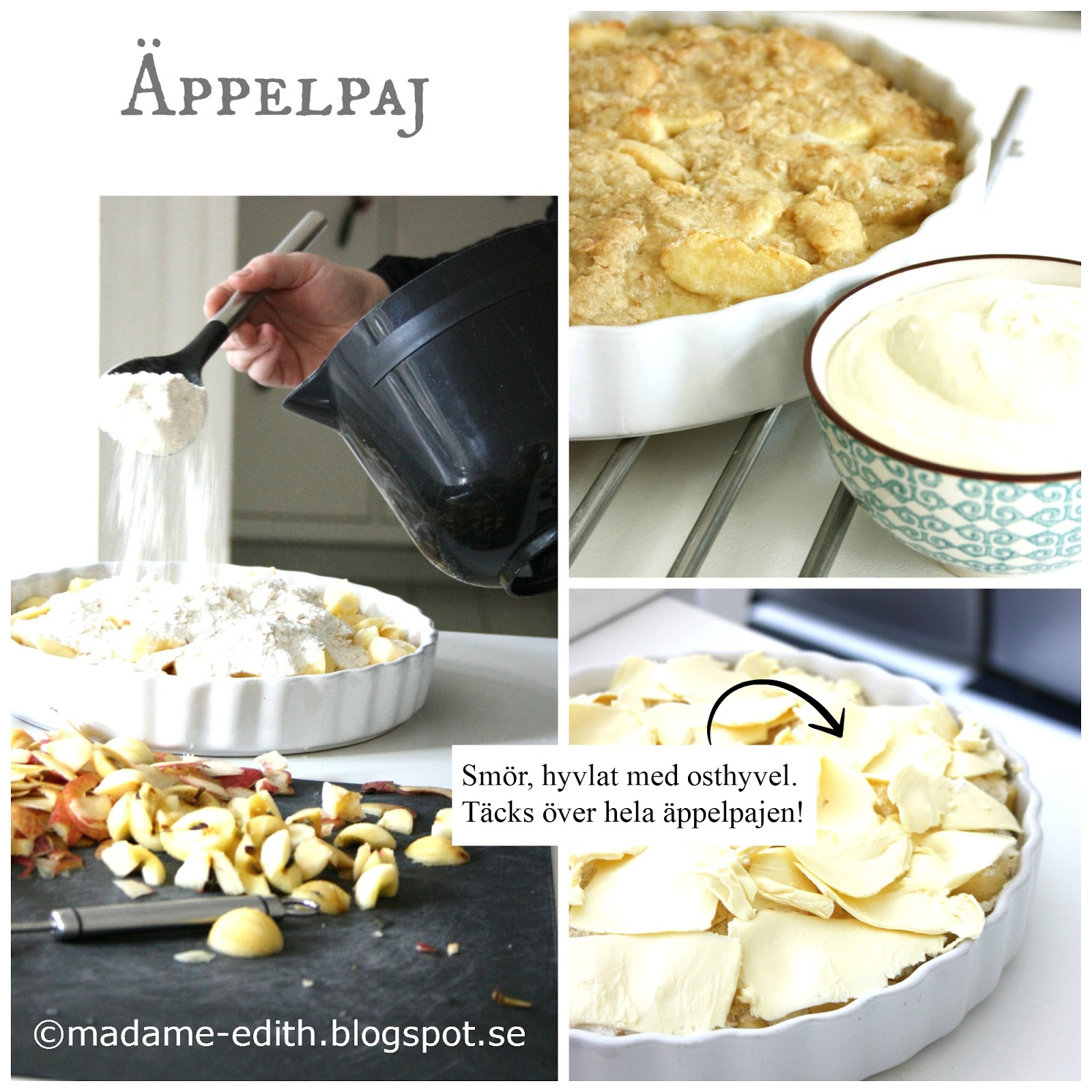enkel äppelpaj hyvla smör