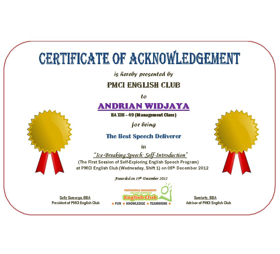 Pmci english club official certificates for members of pmci certificate of acknowledgement is officially issued by pmci english club for the members that have displayed the best performances in such pmci english club xflitez Images