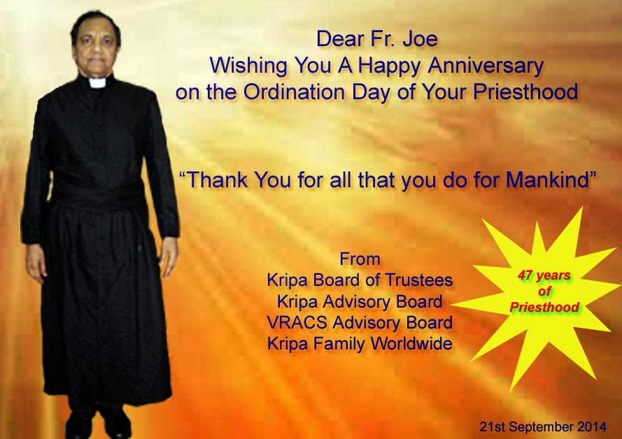 Kripa foundation india wishing fr joe a happy th sacerdotal