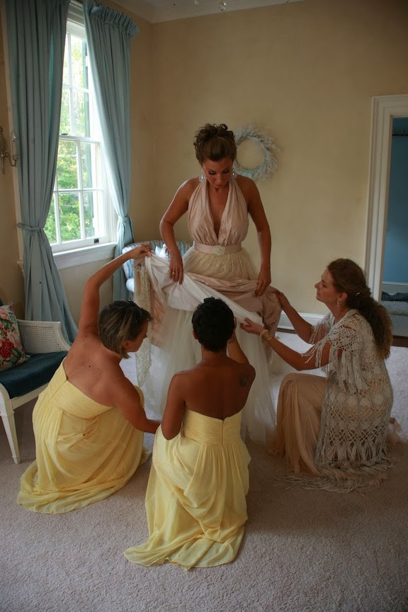 Rust Manor Bride Getting Ready With Bridesmaids