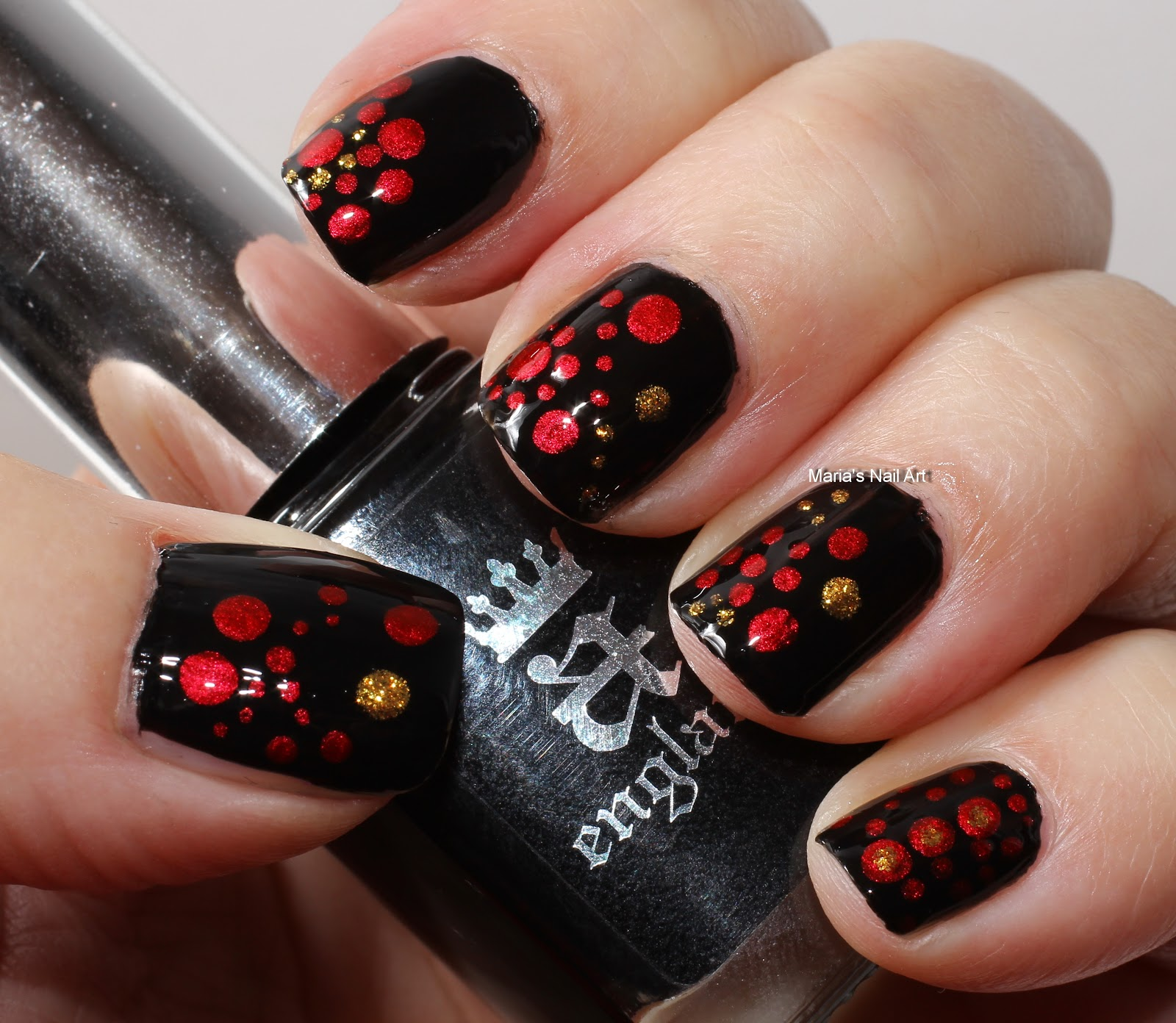 Marias Nail Art And Polish Blog: Black, Red, Gold Dotticure