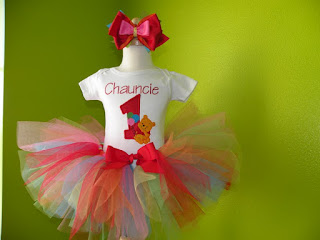 Winnie The Pooh Number Birthday Girls Tutu Set
