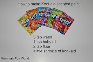http://mommasfunworld.blogspot.com/2012/08/scented-kool-aid-paint.html