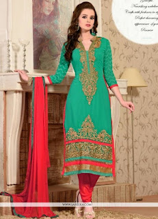 Gorgeous Green And Red Resham Work Green Georgette Suits / Fabulous Green Casual Saree
