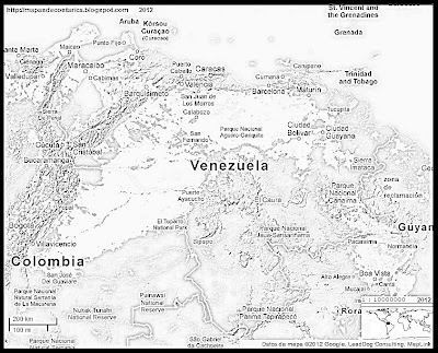 Mapa de Relieve de VENEZUELA, Google Maps, blanco y negro