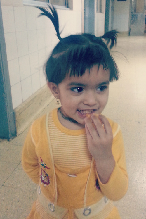 little girl with heart defect