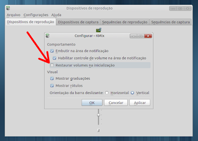 Screenshot das configurações do KMix