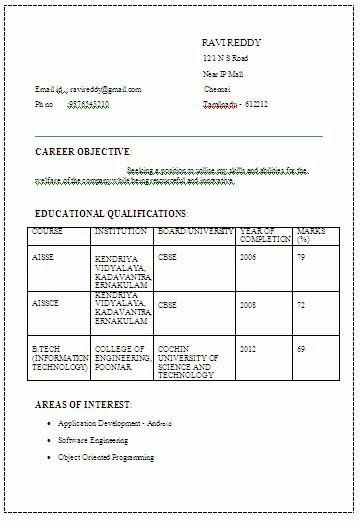resume b tech cse student ATRACTIVE RESUME FORMAT FOR A B TECH EEE FRESHER Resume Formats ATRACTIVE RESUME FORMAT FOR A B TECH EEE