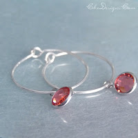 swarovski crystal drop hoops, handmade of ss, padparadascha sapphire colored
