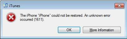 Error 1611 iTunes