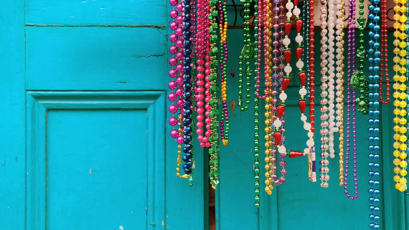 Mardi Gras beads in New Orleans, Louisiana (© David H. Lewis/Getty Images) 318