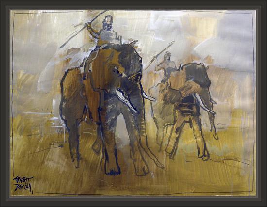 CARTAGO-PINTURA MILITAR-CARTHAGE-CARTHAGINIANS-ELEPHANTS-ELEFANTES-CARTAGINESES-ART-ART MILITAR-PAINTINGS-PINTOR-ERNEST DESCALS