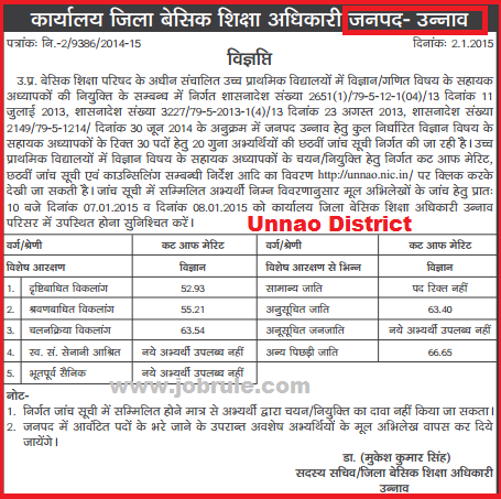 UPTET 29334 JRT Maths & Science Bharti 6th Counseling 6th Cut Off of Kanpur & Lucknow Division