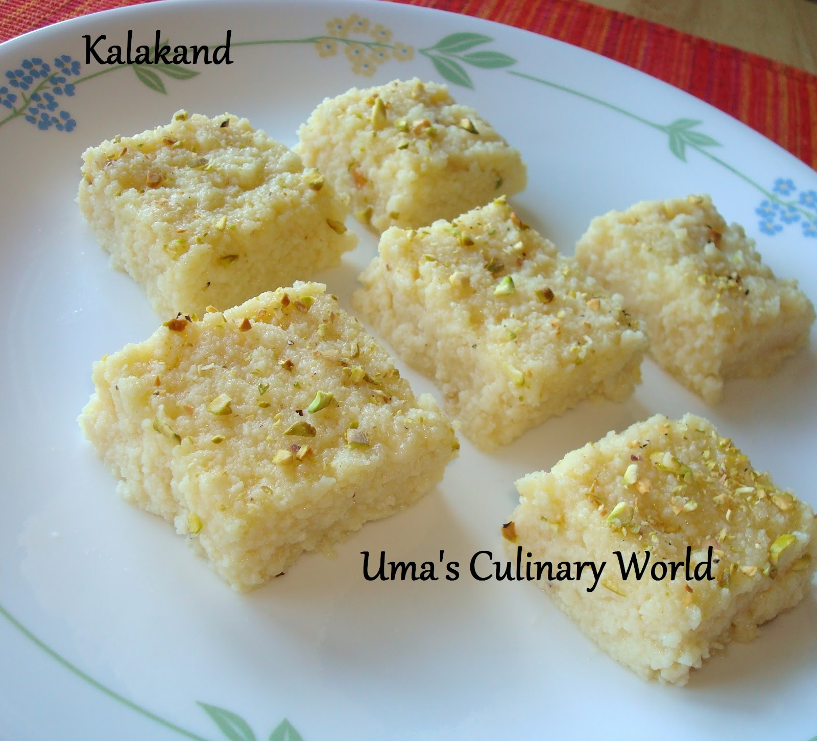 Uma S Culinary World Microwave Ricotta Cheese Kalakand