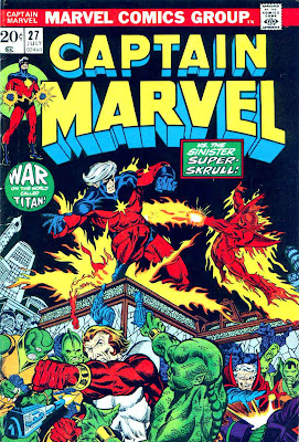 Captain Marvel #27 marvel 1970s bronze age comic book cover art by Jim Starlin