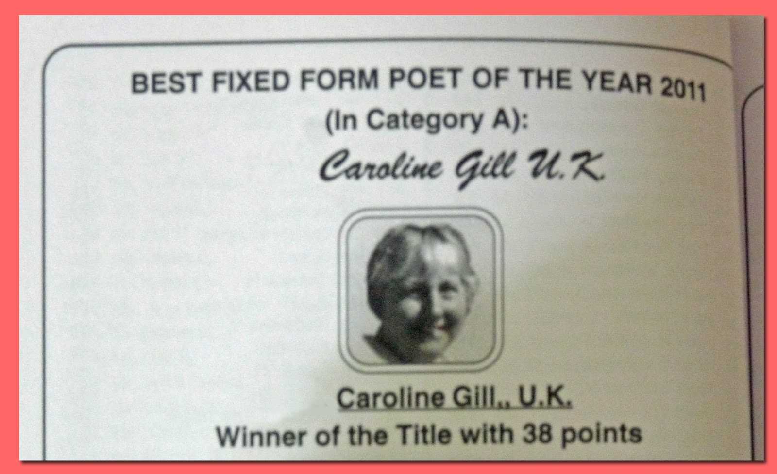 Caroline Gill: Poetry and Other Writing: Competition Corner (5 ...
