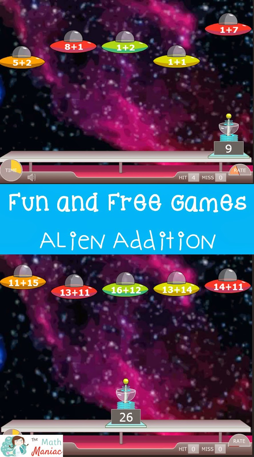 The Elementary Math Maniac: Fun and Free Computer Game: Alien Addition
