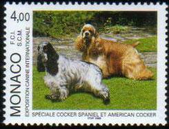 1999年モナコ公国 イングリッシュ・コッカー・スパニエルとアメリカン・コッカー・スパニエルの切手