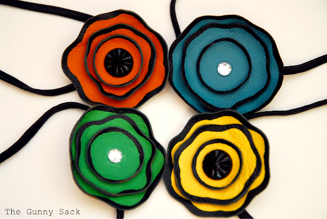 Beautiful flowers for hair accessories and clothing for Leather flowers for crafts