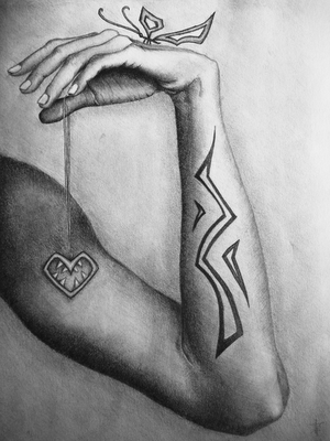 Surreal pencil drawing of a hand holding necklace with a heart with teeth