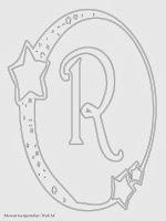 Mewarnai Gambar Huruf Alfabet R Bergaya Bulan Bintang